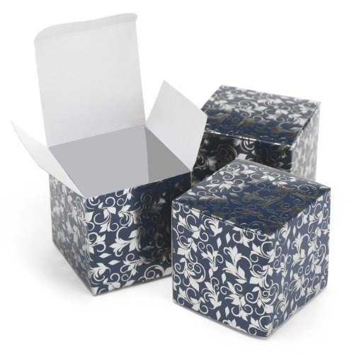 oil Patterned Favor Boxes Wedding Accessories, Navy and Silver, Set of 25 ()