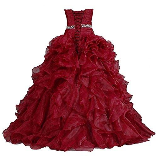 A Organza Inkblau Rüschen Linie Abendkleider mit Lang Kleid Ballkleider Quinceanera Damen wxvHpqTYX