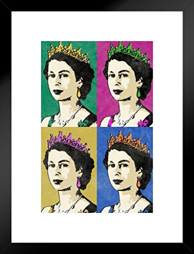 Poster Foundry Queen Elizabeth II Multicolor Pop Art Print Matted Framed Wall Art 20×26 inch