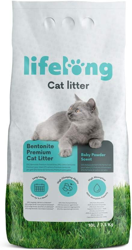 Marca Amazon Lifelong Arena de bentonita para gatos, Premium con perfume de talco 10L