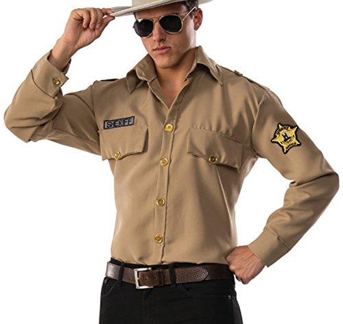 Pizazz! Men's Sheriff, Brown, Large (Highway Patrol Police Patch)