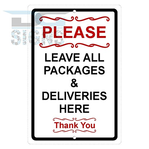 Please Leave All Packages and Deliveries HERE Aluminum (Sign Pole Decorative Bases)