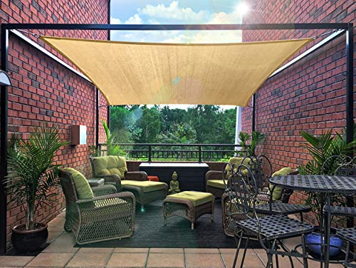 - diig Outdoor Sun Shade Sail Canopy, 10' x 14' Rectangle Shade Cloth Patio Cover - UV Resistant Sunshade Fabric Awning Shelter for Deck Yard Garden Carport (Sand Color)