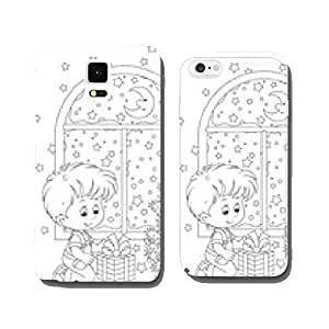 Little boy with his gift and Christmas tree cell phone cover case iPhone6