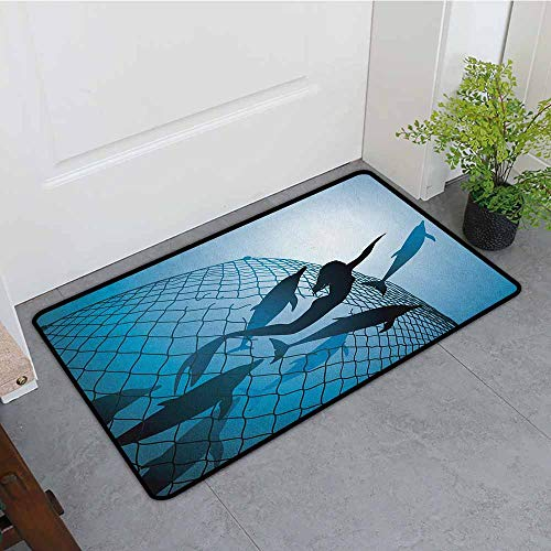 ONECUTE Washable Doormat,Underwater A Mermaid Rescues Flight of Dolphins from a Fishing Net Freedom Diver Artwork Print,Bathroom mat,35