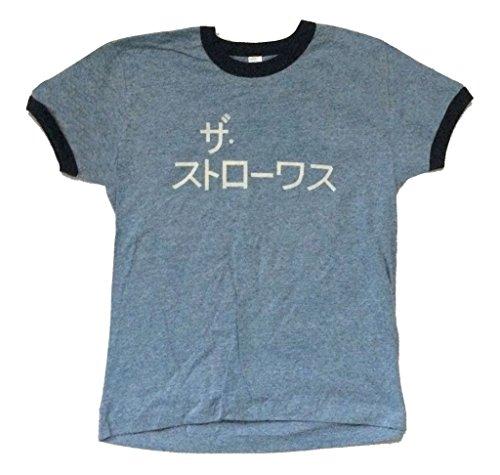 The Strokes Japanese Name Logo Girls Juniors Blue Ringer T Shirt (L)