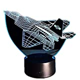 War Plane Fighter Aircraft 3D Night Lights Table lamp Multi Colors Military Jet Plane with USB Power Decor Gift