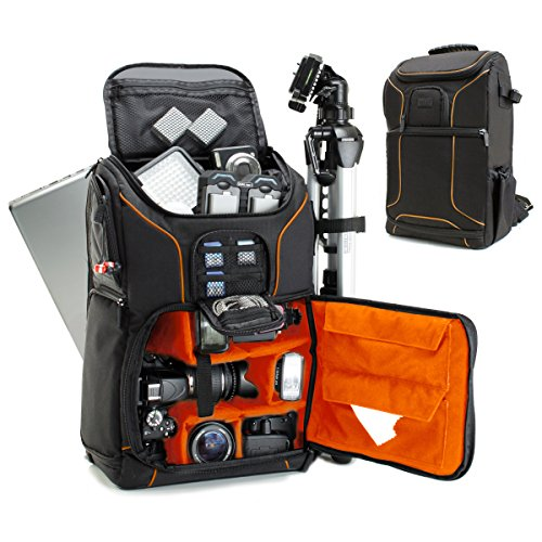 USA GEAR SLR Camera Backpack Case (Orange) - 15.6 inch Laptop Compartment, Padded Custom Dividers, Tripod Holder, Rain Cover, Long-Lasting Durability and Storage Pockets - Compatible with Many DSLRs (Best Laptop Photography 2019)
