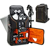 Digital SLR Camera Backpack (Orange) with 15.6 Laptop Compartment by USA Gear features Padded Custom Dividers , Tripod Holder , Rain Cover and Storage for DSLR Cameras by Nikon , Canon , Sony & More