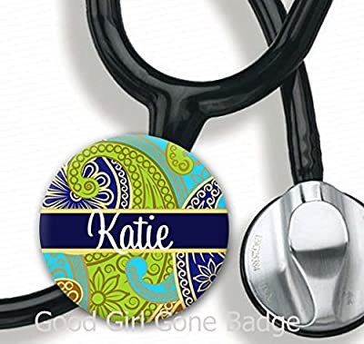 Stethoscope Tag - Navy Paisley - Personalized Name - Steth ID Tag