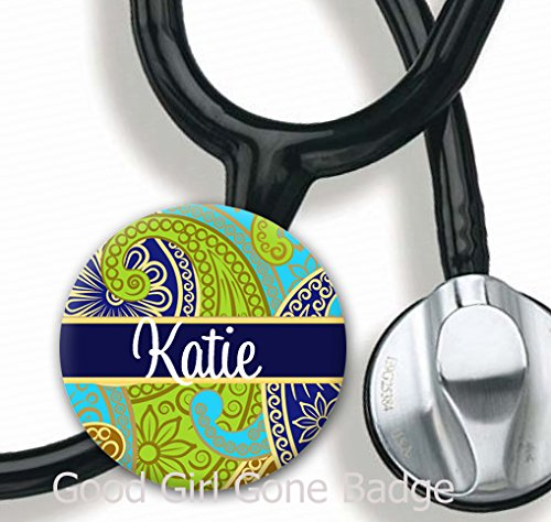 (Stethoscope Tag - Navy Paisley - Personalized Name - Steth ID Tag)