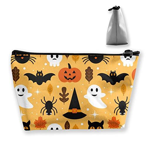 Halloween Ghost,skull,pumpkin Pattern Makeup Bag Travel Trapezoidal Storage Bags -