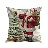 Hmlai Decorative Pillowcases Christmas Printing Dyeing Sofa Bed Home Decor Pillow Cover Cushion Cover,45cmx45cm (E)