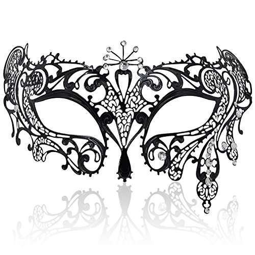 FaceWood Masquerade Mask For Women Ultralight Metal Mask Shiny Metal Rhinestone Venetian Pretty Party Evening Prom Ball (Girls Masquerade Masks)