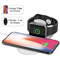 Wireless Charger for Apple Watch, 2 in 1 Wireless Charging Pad ,LIONAL Magnetic Wireless Charger Compatible with iWatch Series 4/3/2/1,iPhone X/XR/XS Max/XS/8/8 Plus, Galaxy S10/S10+ /S9/S9 /S8/S8 /S7/Note8/9,Galaxy Buds, White …