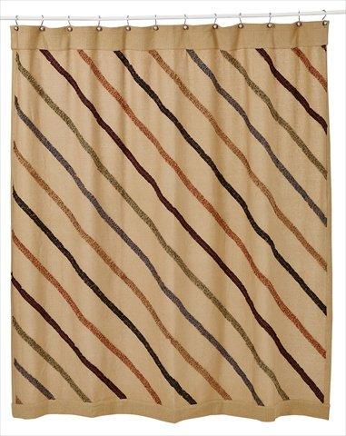 VHC Brands Lewiston Ruffled Burlap Shower Curtain In Tan