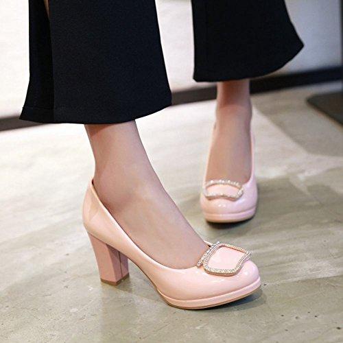 MissSaSa Damen high heel Lackleder Pumps Plateau Strass Brautschuhe Pink