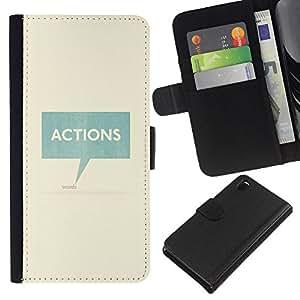 KLONGSHOP // Tirón de la caja Cartera de cuero con ranuras para tarjetas - Acciones Habla texto del trullo Caja minimalista - Sony Xperia Z3 D6603 //