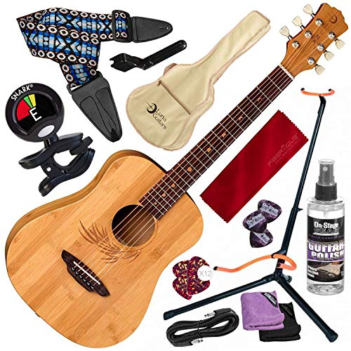 Luna Safari Bamboo Acoustic Travel Guitar with Gig Bag, Satin Natural and Guitar Stand + Clip-On Tuner Deluxe Accessory Pack