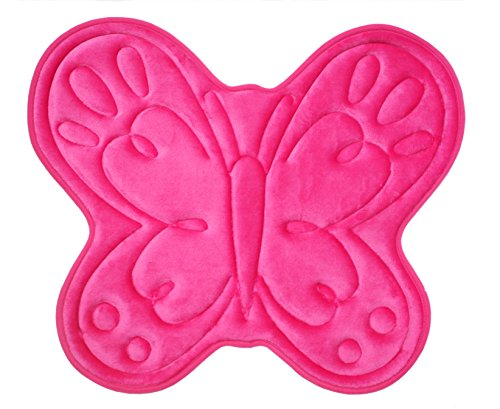 J & M Home Fashions Butterfly Kids Memory Foam Bath Mat, 21 by 25