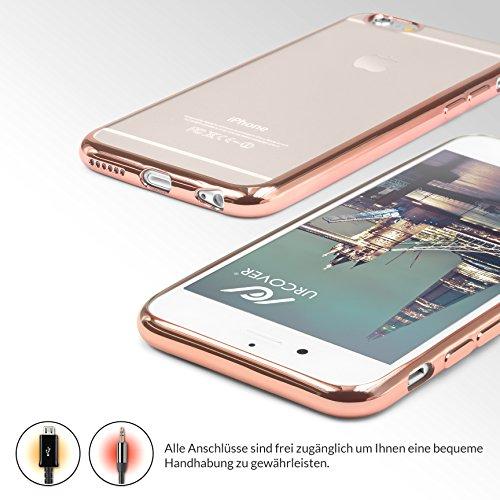 URCOVER® Case Cover Custodia Trasparente Apple iPhone 6 / 6s di Silicone TPU | Morbida Protettiva Flessibile Lavabile Leggera con Bordo Cromato in Rosa Dorato