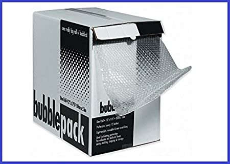BoxYeah 12' x 100' Bubble Perforated Roll in Handy Dispenser Box. Wrap - 5/16' Bubble Ht. (12' x 100')