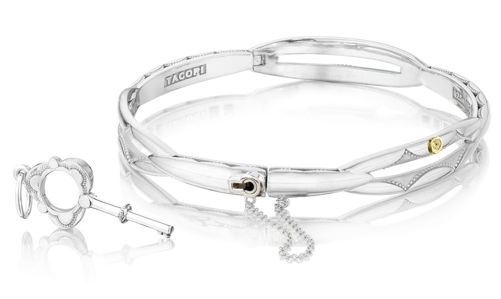 Tacori SB177 Sterling Silver Promise Bangle Bracelet (Size Large (fits 7.5'' wrist))