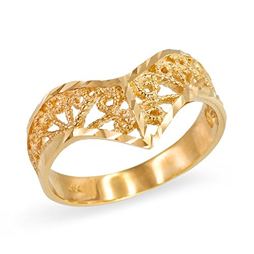 Filigree Chevron Ring for Women in Fine 10k Yellow Gold