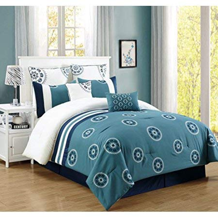 Townhouse Unique Home Brella 7 Piece Comforter Set Bed in a Bag Bedding Comforter Duvet, Fade Resistance, Super Soft (Queen, Blue) ()