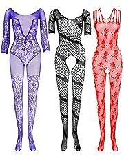 LEMON GIRL 3pcs Women's Mesh Bodystocking Stocking Lingerie Pantyhose US2-16