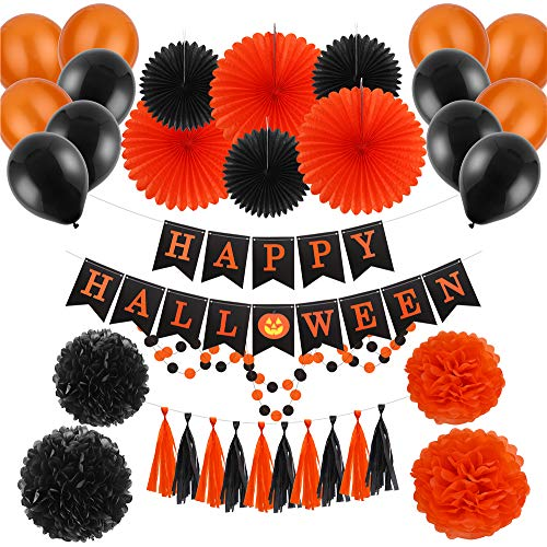CCINEE 34pcs Halloween Garland Kits Tissue Paper Party Banners Set with Latex Balloons for Halloween Party Decoration ()