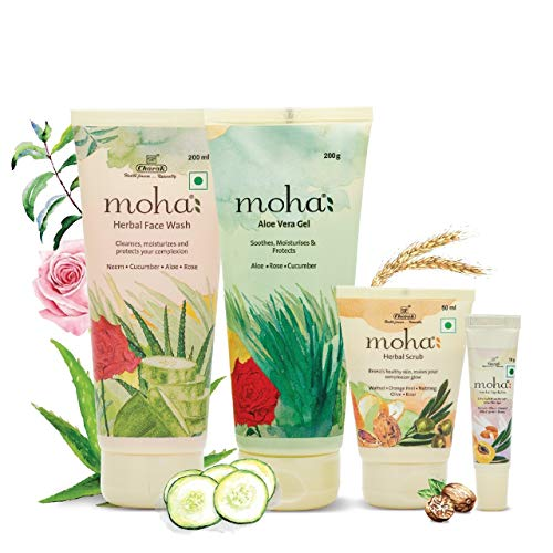 moha: Face Essentials Kit For Men & Women Includes Face Wash (200 Ml), Aloe Vera Gel (200 Ml), Herbal Scrub (100Gm…