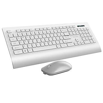 Guanwen Teclado y ratón inalámbricos Combinados, Teclado Ultrafino silencioso con Palm Rest + 1600DPI Ratón inalámbrico sin Ruido para PC Computadora de ...