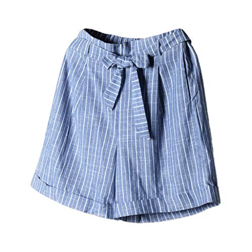 JOFOW Shorts Womens Plaid Checkered Print Tie Bowknot Casual Loose High Waist Mini Pants Strappy A Line Fashion Trousers Gift Blue -