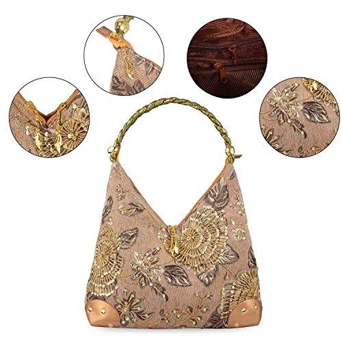 Bag Bead Handbag Embroidered Shoulder Embroidery Bag 2018 Spring Female Bag Bag Bag Gold Vintage Single Flower Style Retro xaWUqgw0