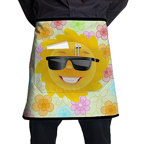 HTSS Cute Sun With Sunglasses.PNG Adjustable Waist Half Chef Aprons With Pockets For Mens Womens Home Kitchen Cooking For Cooking Baking - Sunglasses Png