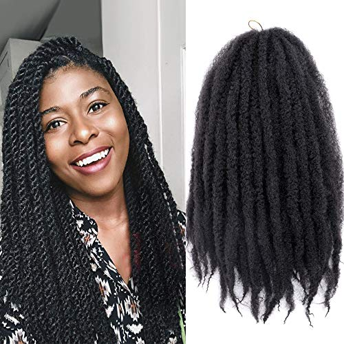 K&G HAIR 3Packs Marley Braiding Hair 18Inch Afro Marley Hair For Twists Synthetic Kinky Braiding Hair Extensions (#1B)