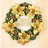 Christmas garlands 30/50/60/80cm Christmas wreath decorations Christmas shopping shop window (50cm, Golden)