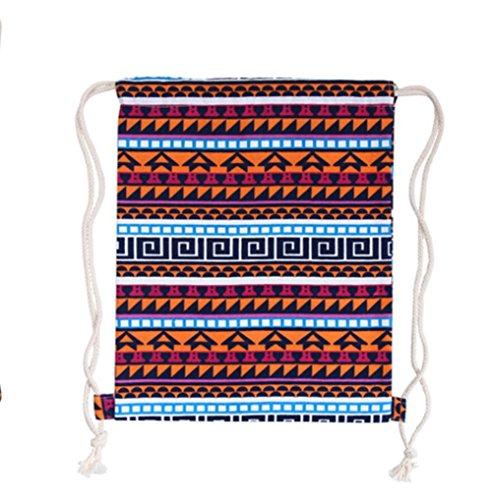 LAMEIDA Bolso de Mujer con Cordón Lona Mochila Backpack Deporte Bolso de Viaje de Lienzo Diseño de geométrico mochila para Mujer Chica estilo-3