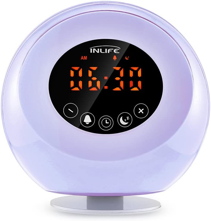 InLife Despertador Luz Natura,Wake Up Light Multi-Funcional con Sonidos Naturales Radio FM y Auriculares