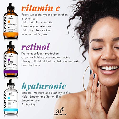 51erS4VzDFL - ArtNaturals Anti-Aging-Set with Vitamin-C Retinol and Hyaluronic-Acid - (3 x 1 Fl Oz / 30ml) Serum for Anti Wrinkle and Dark Circle Remover - All Natural and Moisturizing