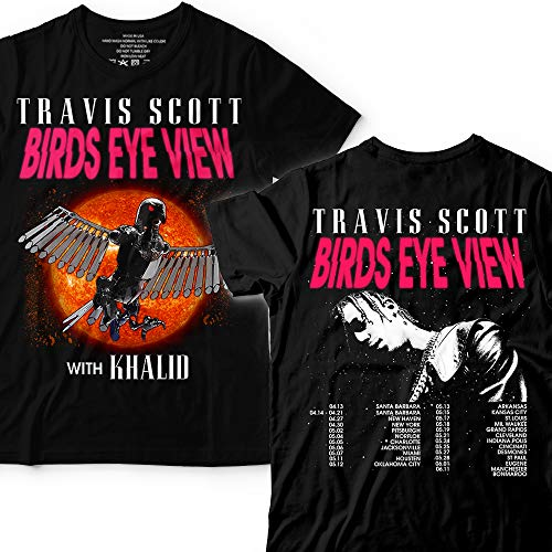(Travid Birds-Eye-View With-Khalid Tour-2019 Scott Astroworld T-shirt Customized Handmade/Hoodie/Sweater/Long Sleeve/Tank Top/Premium T-shirt)