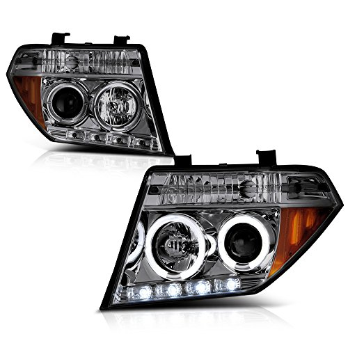 [For 2005-2008 Nissan Frontier Pathfinder] LED Halo Ring Chrome Smoke Projector Headlight Headlamp Assembly, Driver & Passenger Side ()