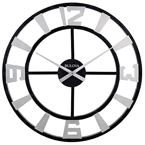 "Bulova C4859 Gotham Wall Clock, 36"", Black Finish"