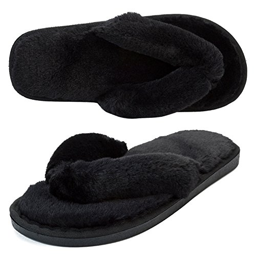 492ea4298a6f JOINFREE Women s Furry Home Slippers Soft Plush Spa Indoor Flip-Flop Shoes  Black 9.5-