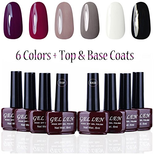 Gellen UV Gel Nail Polish 6 Colors + Base Coat and Top Coats, Classic Elegant Colors Manicure Starter Kit