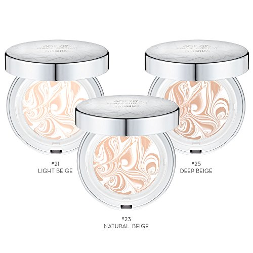 Age 20's Compact Foundation Premium Makeup, + 1 Extra Refill - White Latte Essence Cover Pact SPF50+ (Made in Korea) - Color No. 21 - White / Light Beige Latte