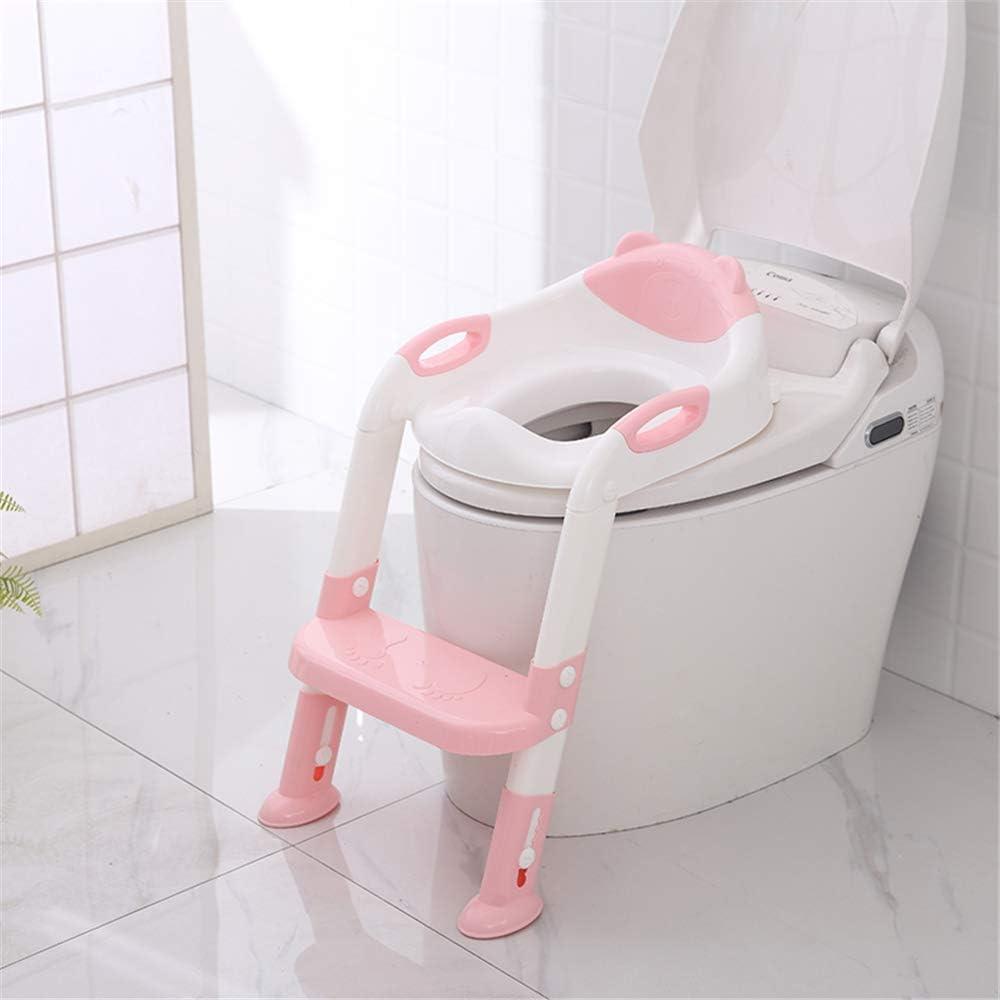 Rose Portable et durable Les enfants Pot Si/ège Avec /échelle Toilettes enfants Pliant Aides /à la propret/é chaise R/éducteurs de toilettes