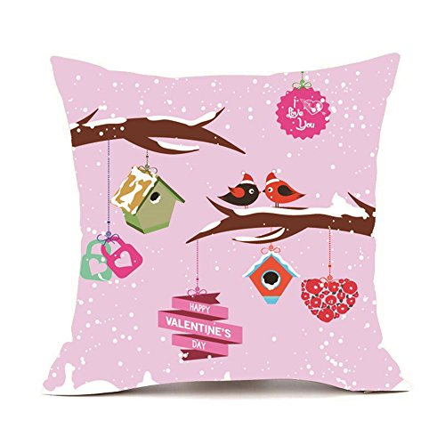 iYBUIA Happy Valentine Soft Fabric Pillow Cases Super Cushion Cover Home Decor18x18 inch