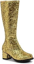 Kids Gold Glitter Gogo Boots, Gold, Small (11/12)